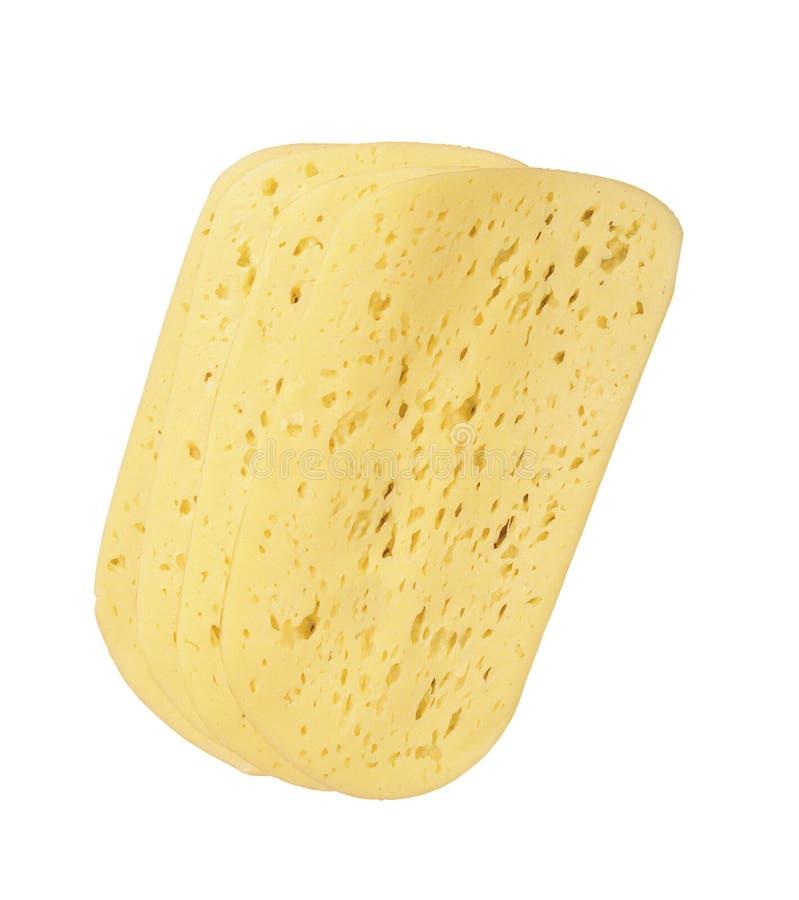 Rebanadas finas de queso suizo imagenes de archivo