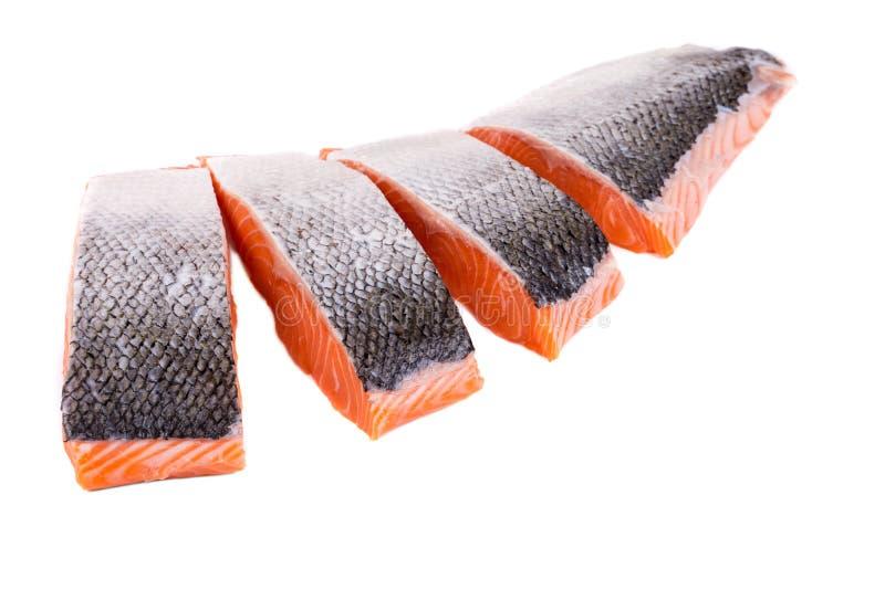 Rebanadas rojas crudas frescas del prendedero de pescados foto de archivo libre de regalías