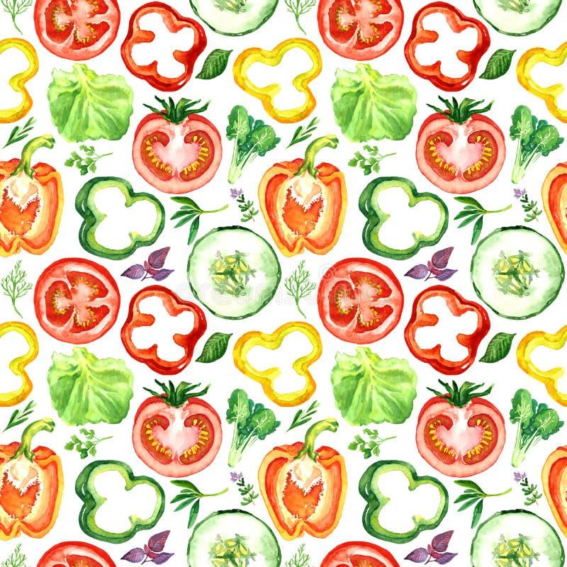 Rebanadas vegetales coloridas de la ensalada: tomates, pimientas, pepinos ilustración del vector