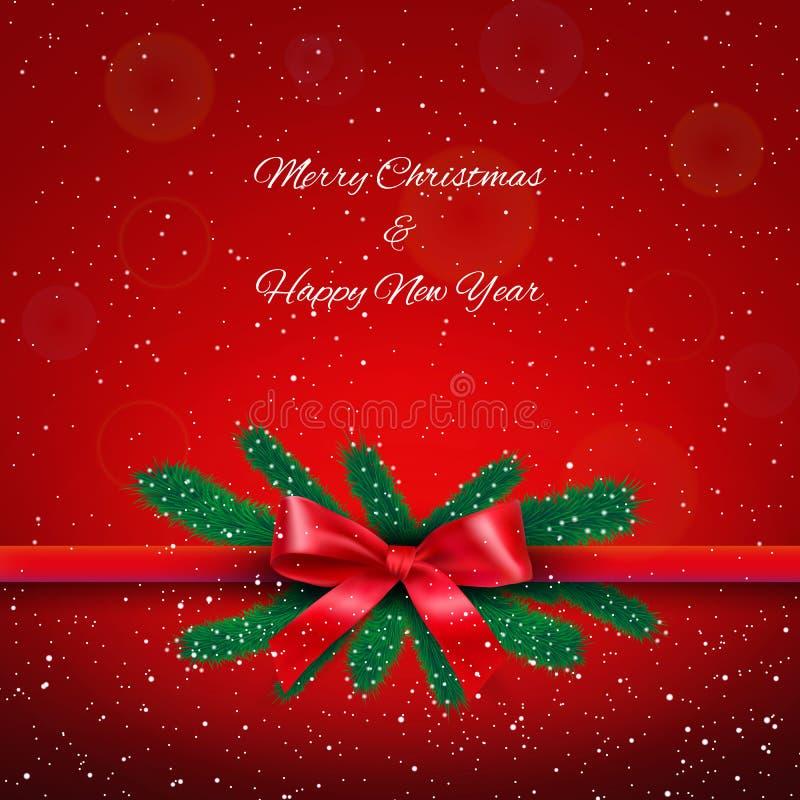 Reband mit Bogen über rotem sternenklarem Weihnachtshintergrund stock abbildung