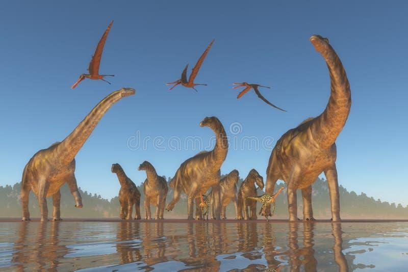 Rebanho cretáceo do Argentinosaurus ilustração stock