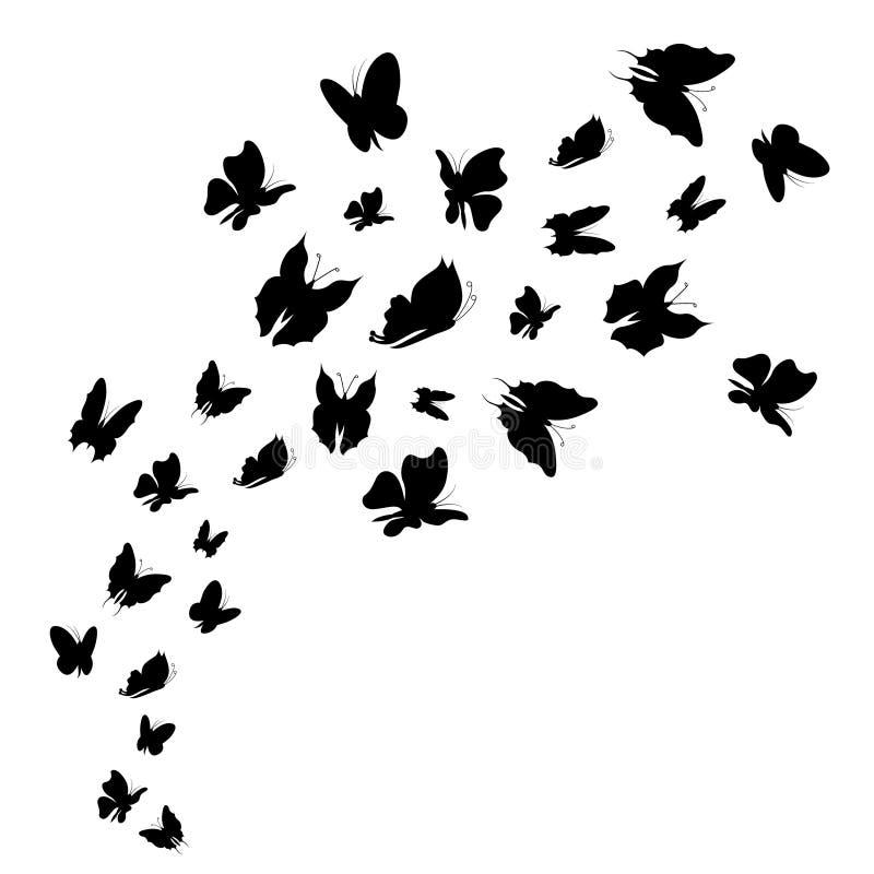 Rebanho da mosca preta da silhueta das borboletas Vetor ilustração stock