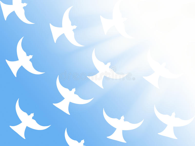 Rebanho das pombas brancas que voam ao símbolo cristão da ilustração dos raios claros da paz e do Espírito Santo ilustração stock