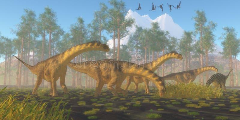 Rebanho do dinossauro do Camarasaurus ilustração do vetor