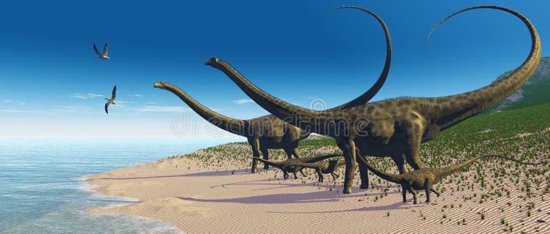 Rebanho do Diplodocus ilustração do vetor