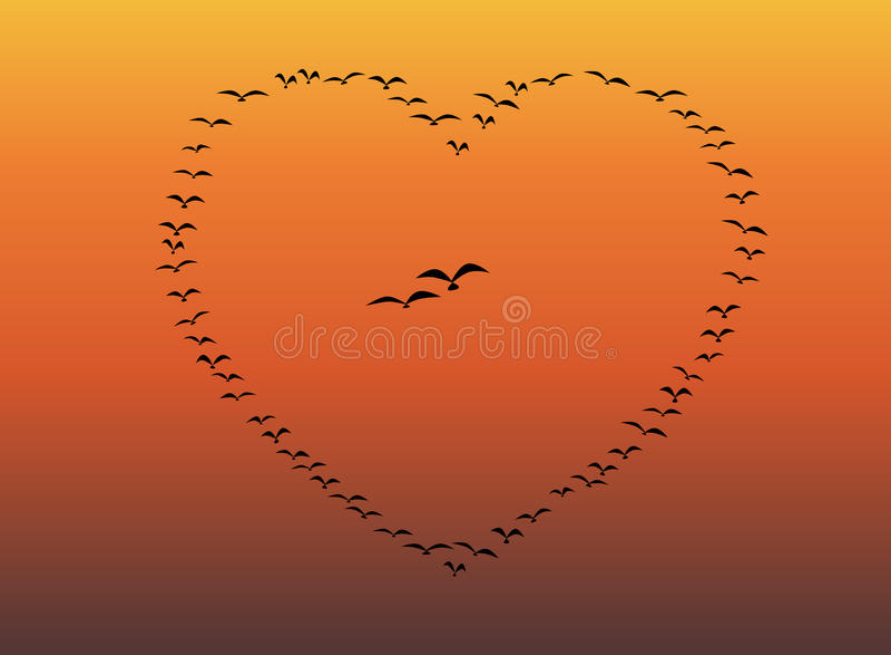 Rebanho dos pássaros que voam o coração ilustração royalty free