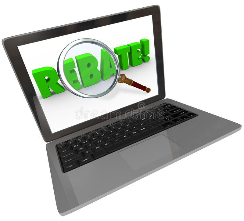 Rebate Word Computer Laptop Screen Online Shopping Bargain. The word Rebate on a computer laptop screen to illustrate online shopping and bargain hunting by vector illustration
