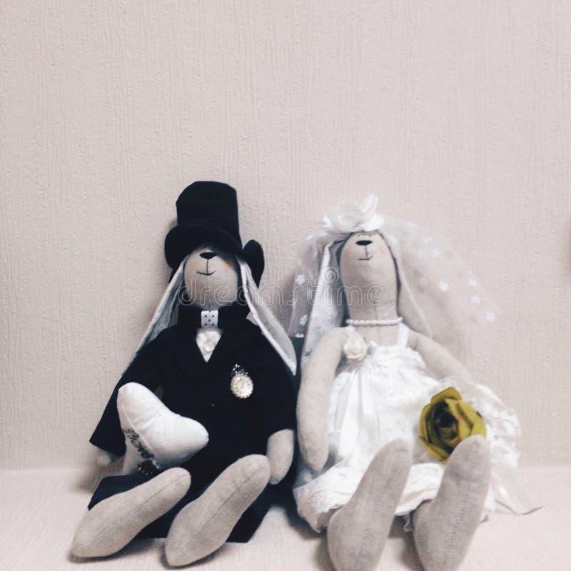 Rebbitstuk speelgoed iphoneography van de huwelijksdag stock foto's