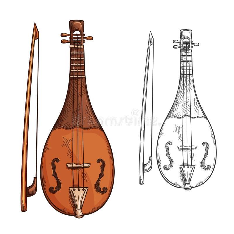 Rebec instrumentu muzycznego nakreślenie Arabska muzyka ilustracja wektor