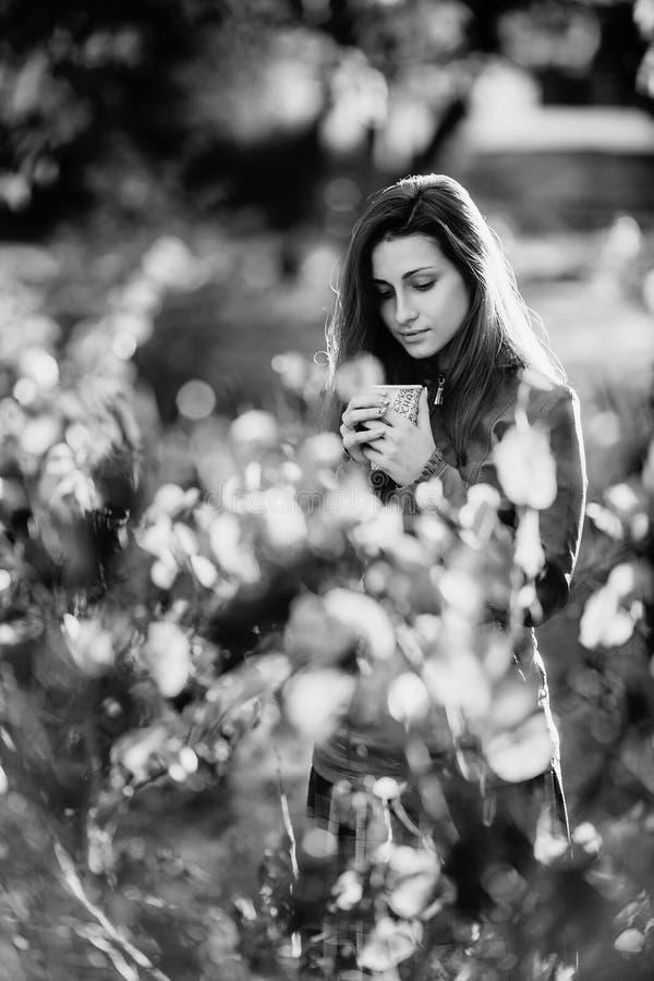 Rebecca 36 Jonge romantische vrouw in bruin leerjasje over achtergrond de herfstportret Het mooie meisje stellen in park met kop royalty-vrije stock fotografie