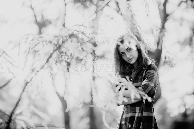 Rebecca 36 Manier openluchtportret van schitterende lange haarvrouw in lange geruite blauwe kleding - spring stijl op Modieus u stock afbeelding