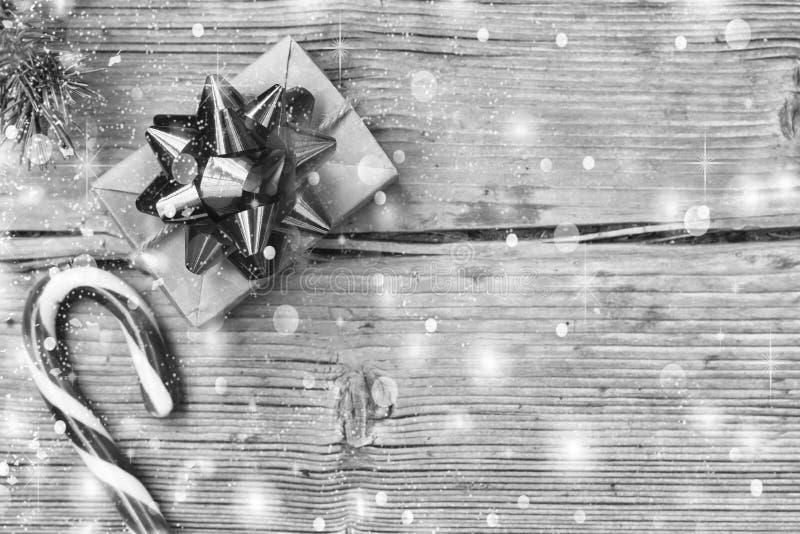 Rebecca 36 Navidad Caja de regalo, decoración, día de fiesta, bastón de caramelo de Navidad, espacio de la copia, visión superior fotografía de archivo