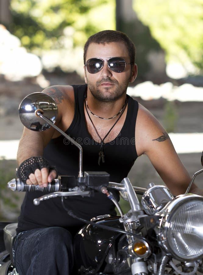 Rebel motorcycle rider stock photo