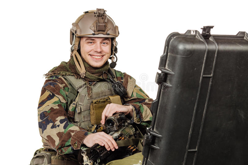 Rebel or private military contractor holding black gun. war, arm stock photos