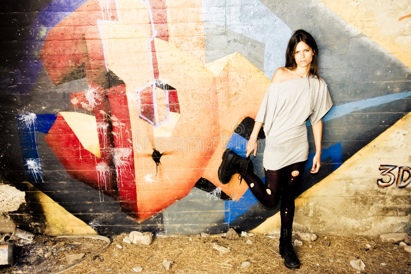 Download Rebel young woman stock image. Image of graffiti, above - 6530961