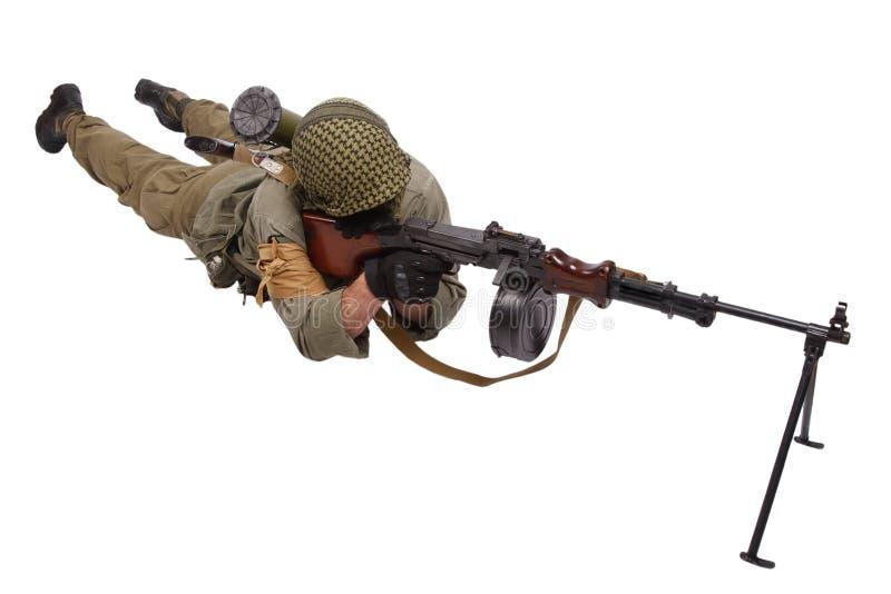 Rebell med maskingeväret fotografering för bildbyråer