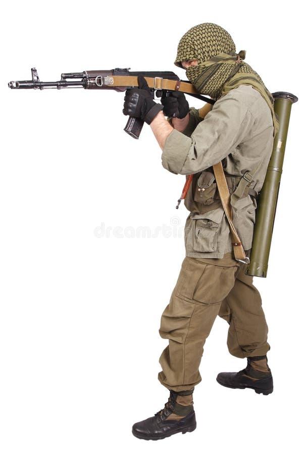 Rebell mit AK 47 stockbild