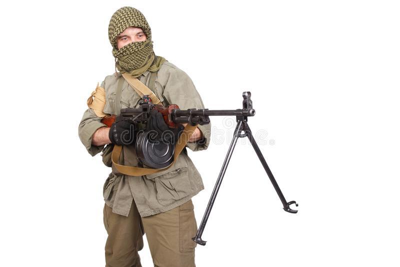 Rebell mit Maschinengewehr lizenzfreie stockbilder