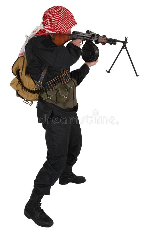 Rebell mit Maschinengewehr lizenzfreies stockbild