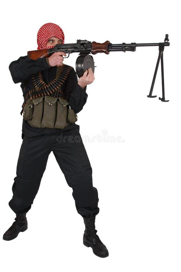 Rebell mit Maschinengewehr lizenzfreie stockfotos