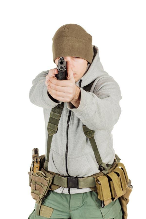 Rebellen of privé militaire contractant die zwart kanon houden oorlog, wapen royalty-vrije stock fotografie