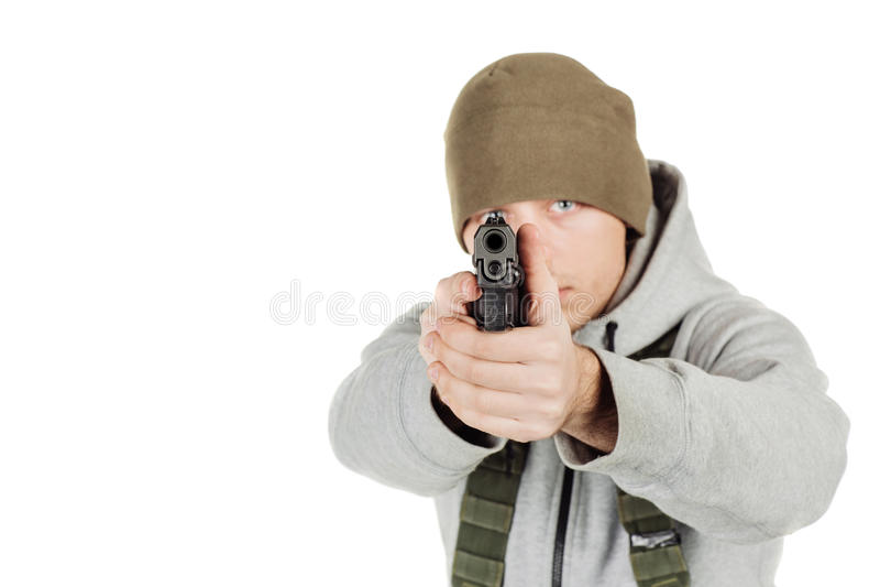 Rebellen of privé militaire contractant die zwart kanon houden oorlog, wapen royalty-vrije stock afbeeldingen