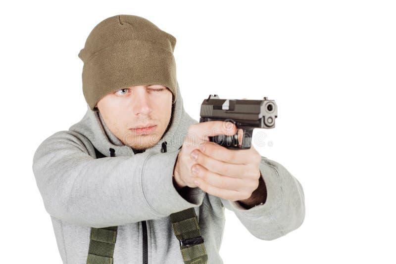 Rebellen of privé militaire contractant die zwart kanon houden oorlog, wapen royalty-vrije stock foto's