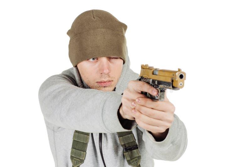 Rebellen of privé militaire contractant die zwart kanon houden oorlog, wapen stock foto's