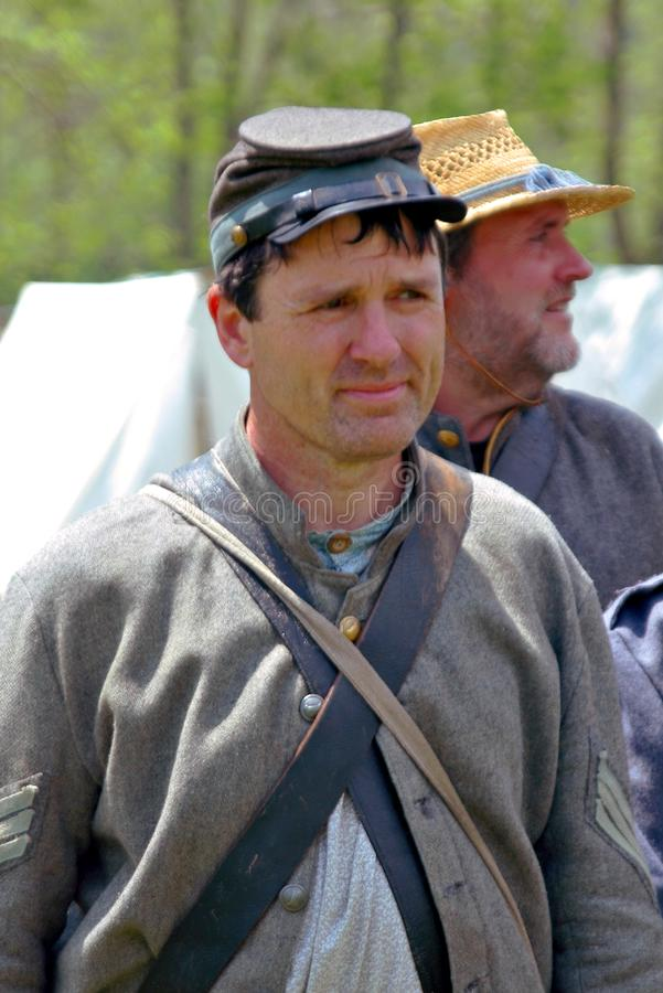 "Rebellisk soldat på ""Battlen av Liberty† - Bedford, Virginia royaltyfria bilder"