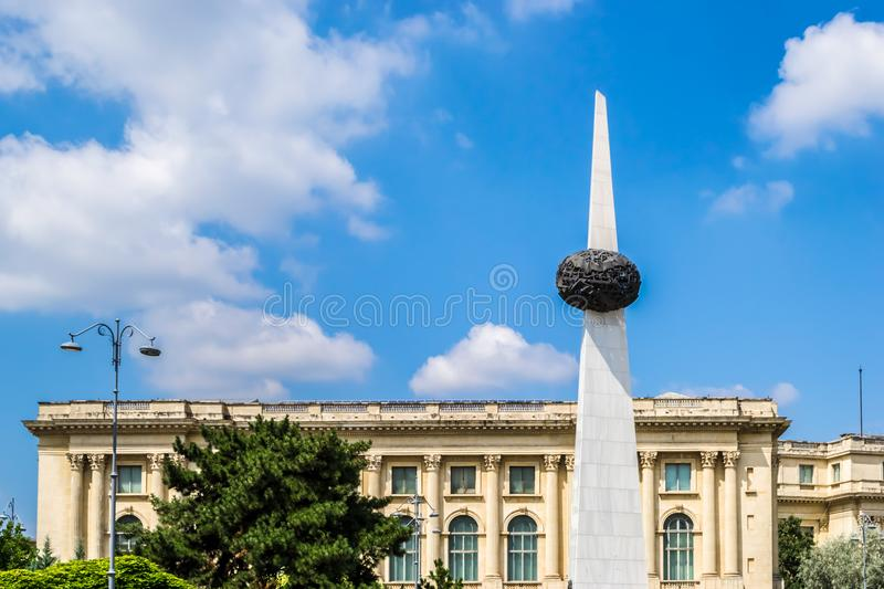 Memorial of Rebirth. Rebirth Memorial at Revolution Square in Bucharest, Romania. Daylight, summer, 2018 royalty free stock image