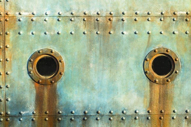 Rebites da vigia da cabine do navio imagens de stock