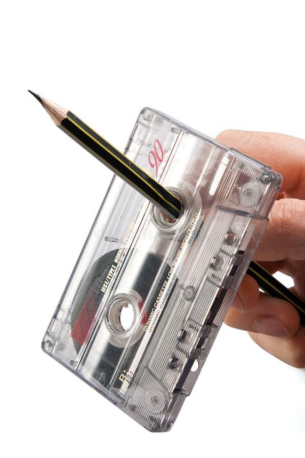 Rebobinado del cassette de la vendimia fotografía de archivo