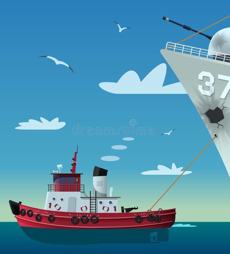 Rebocador que puxa o barco da Armada danificado ilustração stock
