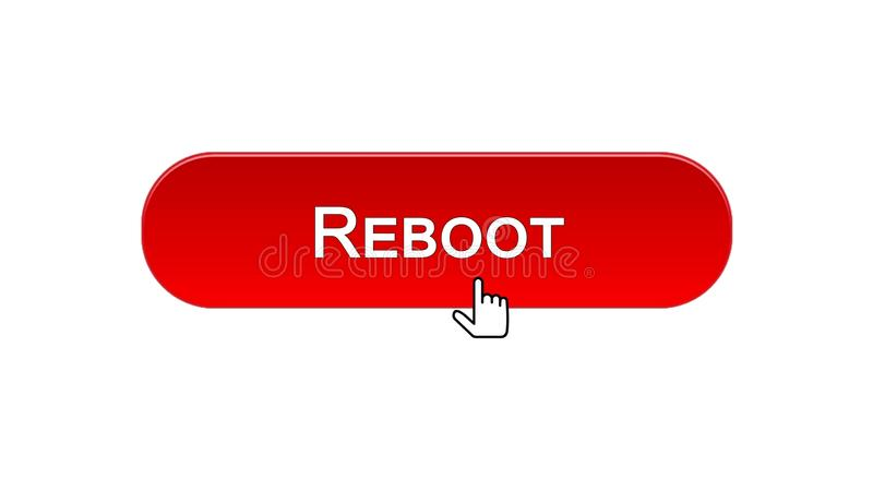 Reboot web interface button clicked with mouse cursor, red color, site design. Stock footage royalty free illustration