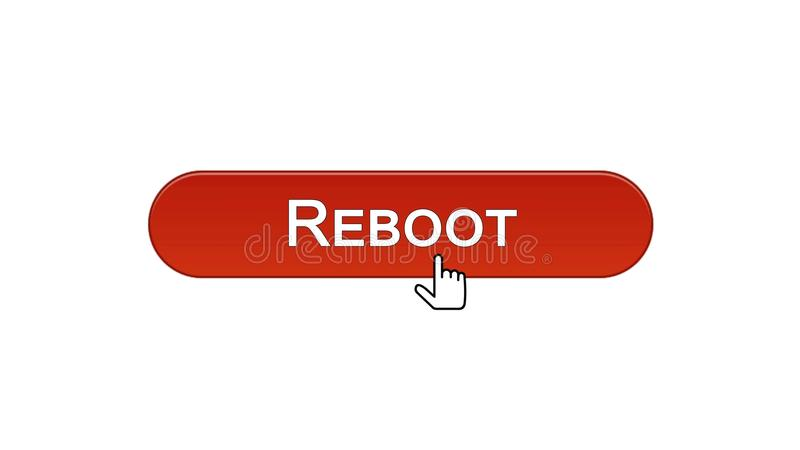 Reboot web interface button clicked with mouse cursor, wine red, site design. Stock footage vector illustration