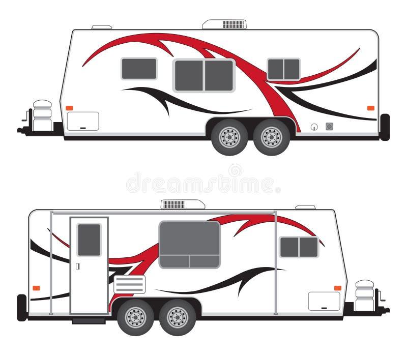 Reboque do acampamento com os gráficos vermelhos e pretos ilustração stock