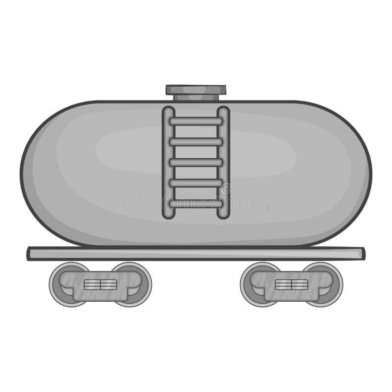 Reboque do petroleiro no ícone do trem, estilo monocromático ilustração do vetor