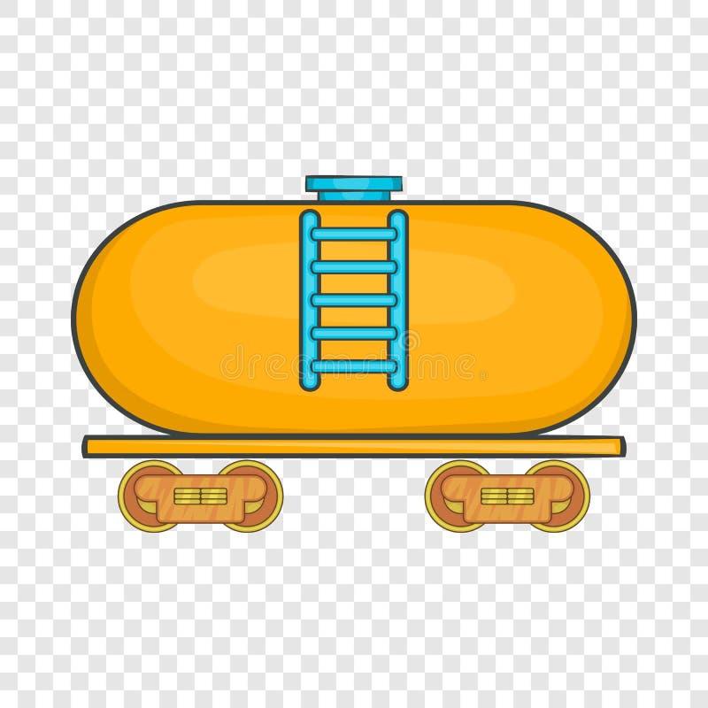 Reboque do petroleiro no ?cone do trem, estilo dos desenhos animados ilustração do vetor