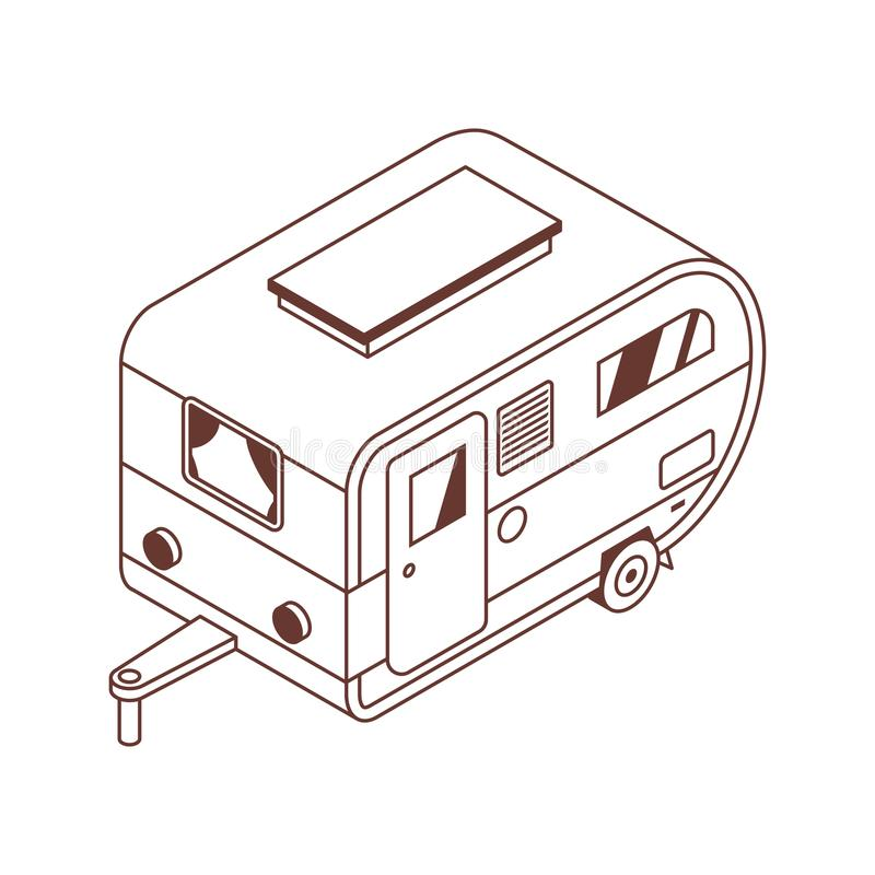 Reboque isométrico de acampamento na linha arte ilustração royalty free