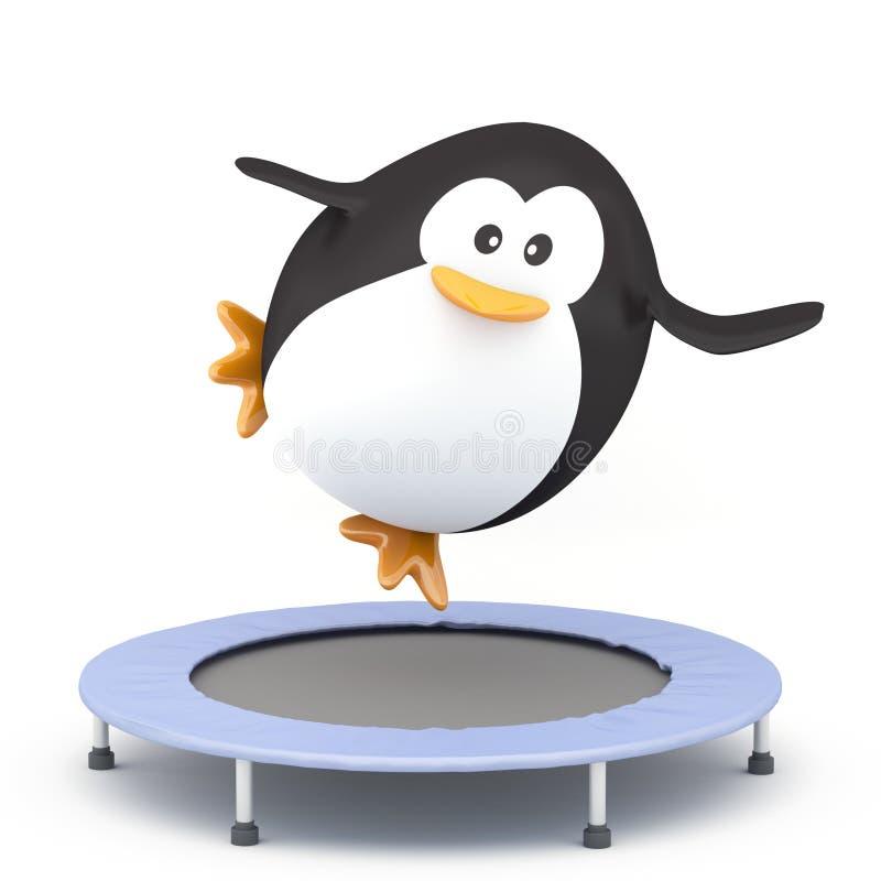 Rebound exercise. Fat penguin jumping on Trampoline - 3D render stock illustration