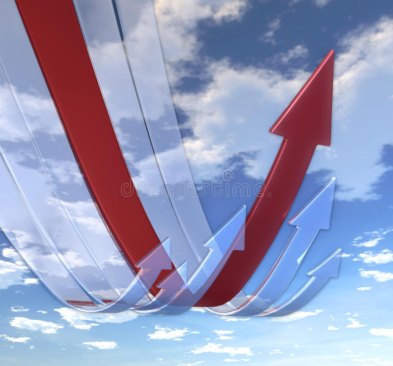 Rebounding arrows Red stock image