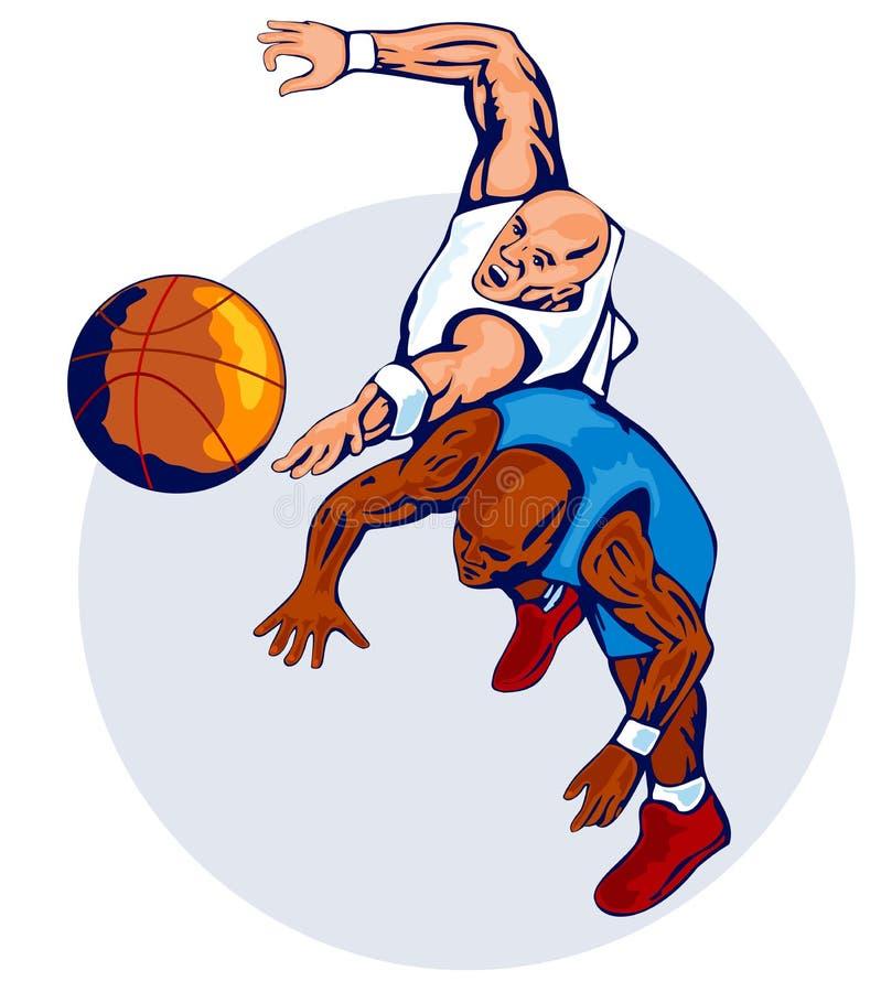 rebounding för basketspelare royaltyfri illustrationer