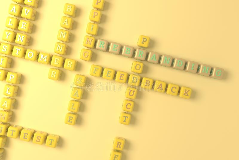 Rebranding, crucigrama de comercialización de la palabra clave Para la p?gina web, el dise?o gr?fico, la textura o el fondo repre ilustración del vector