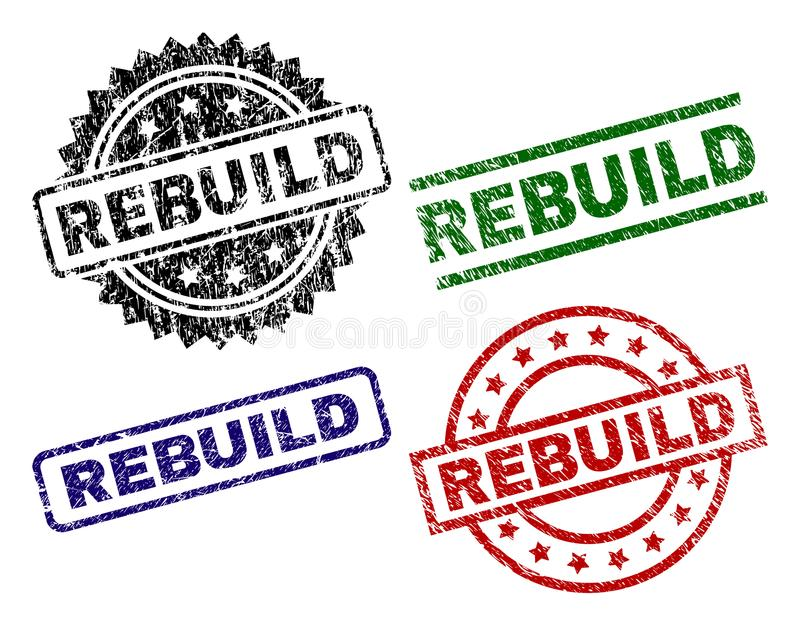 Scratched Textured REBUILD Seal Stamps royalty free illustration