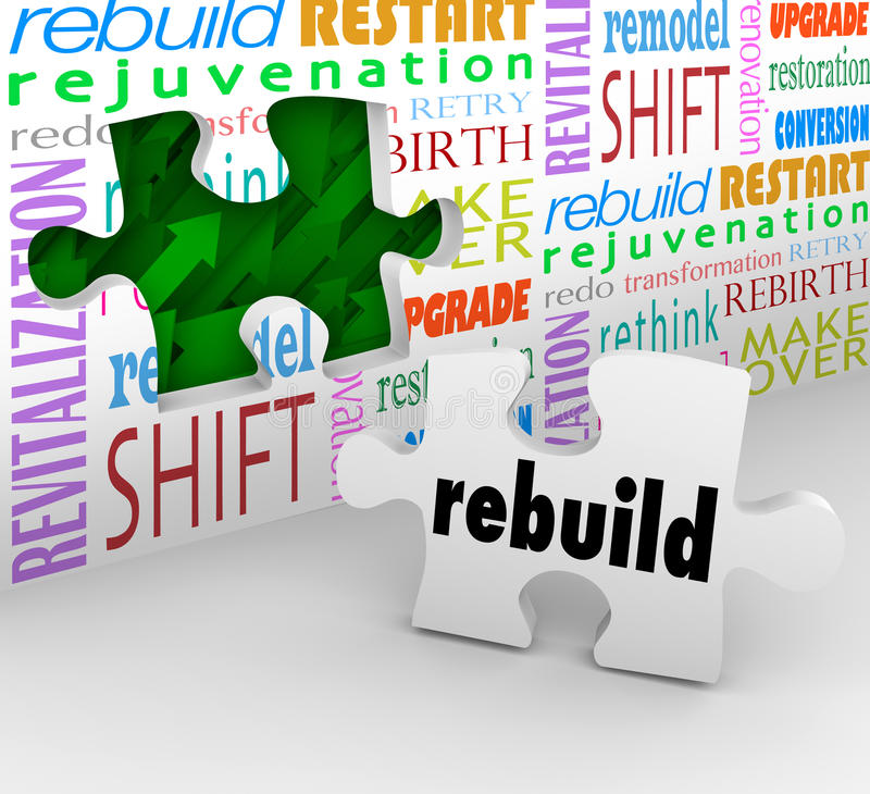 Rebuild Word Puzzle Piece Wall Reinvent New Start. Rebuild word on final puzzle piece to complete a redo, reinvention, remodel, restart, rejuvenation, rebirth or vector illustration