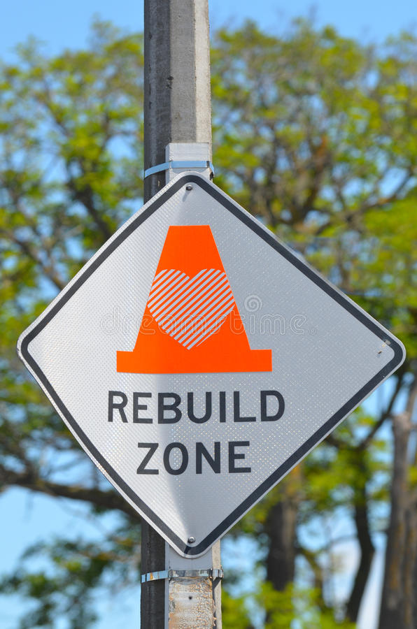 Rebuild Zone Sign in Christchurch - New Zealand. CHRISTCHURCH, NZL - DEC 07 2015:Rebuild Zone Sign in Christchurch - New Zealand.Over 1000 buildings in the CBD ( royalty free stock photos