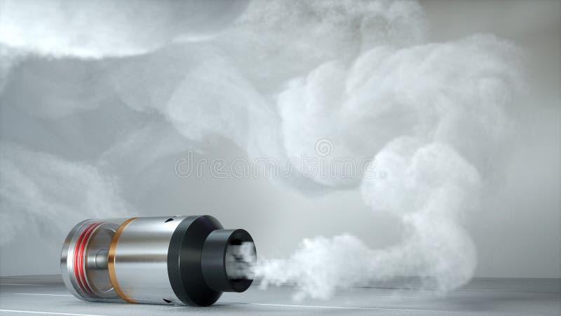 Rebuildable druipende verstuiver in vapewolken 3d geef terug vector illustratie