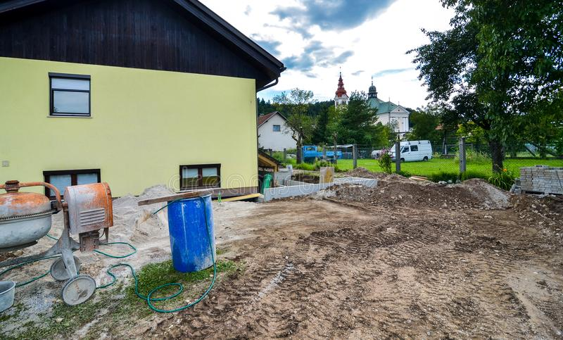 Rebuilding a family house and adding an extension. royalty free stock photos