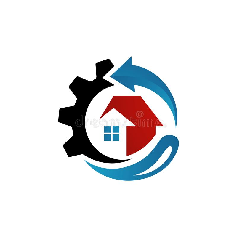 Rebuilding house Restoring Home Repair Logo vector. tools and roof sign. symbol of construction concept vector illustration