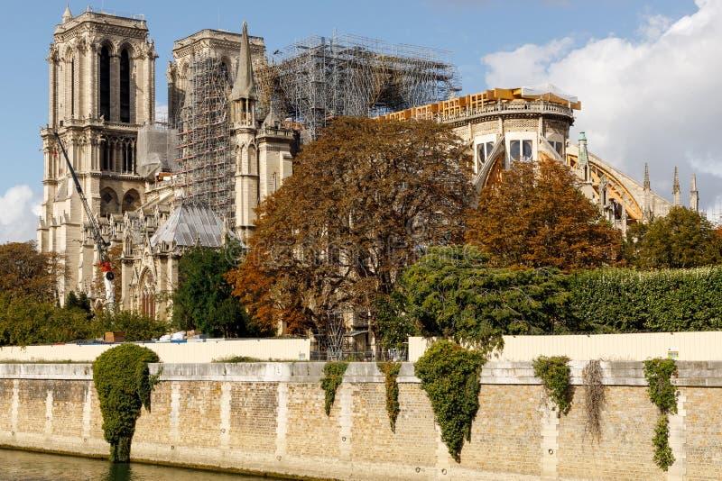 Rebuilding the landmark Notre Dame Cathedral stock image